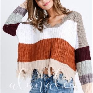 Sweaters - Mocha V-Neck Distressed Sweater